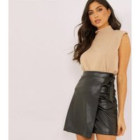 QUIZ Black Leather-Look Wrap Mini Skirt New Look