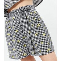 Black Gingham Daisy Embroidered Tie Waist Shorts New Look