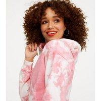 Wednesday's Girl Pink Tie Dye Crop Hoodie New Look