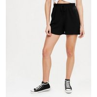 Black Ribbed Jersey Tie Front Shorts New Look