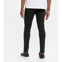 Men's Black Double Chain Skinny Jeans New Look