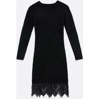 Sunshine Soul Black Lace Hem Jumper Dress New Look