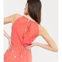 Blue Vanilla Coral Metallic Spot Halter Maxi Dress New Look