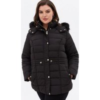 Curves Black Quilted Faux Fur Hood Puffer Jacket New Look