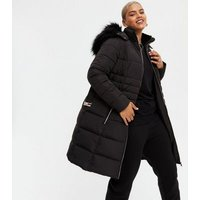 Curves Black Faux Fur Trim Long Puffer Jacket New Look