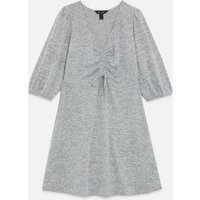 Grey Marl Jersey Ruched Front Skater Dress New Look