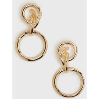 Gold Knot Double Circle Drop Stud Earrings New Look
