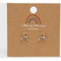 Silver Diamante Rainbow Earrings New Look