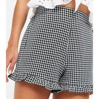 Black Gingham High Waist Frill Shorts New Look