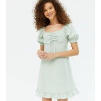 Petite Green Gingham Ruched Frill Mini Dress New Look