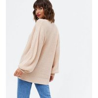 Pale Pink Puff Sleeve Long Cardigan New Look