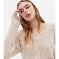 Camel Fluffy Ribbed Knit Cardigan New Look