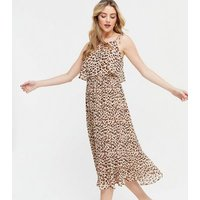 Brown Leopard Print Pleated Tie Strap Midi Dress New Look