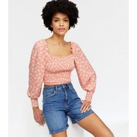 Wednesday's Girl Pink Ditsy Floral Square Neck Top New Look