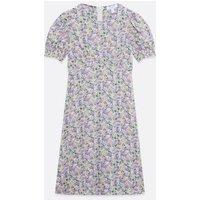 Blue Vanilla Lilac Puff Sleeve Midi Dress New Look
