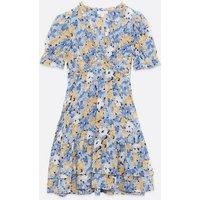 Blue Vanilla Blue Floral Frill Tiered Dress New Look