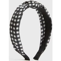 Black Gingham Knot Headband New Look