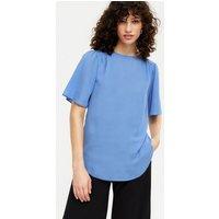 Blue Flutter Sleeve T-Shirt New Look