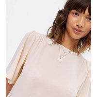 Pale Pink Flutter Sleeve T-Shirt New Look