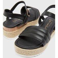 Back Padded Strap Espadrille Flatform Sandals New Look Vegan