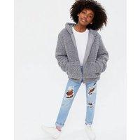 Girls Grey Teddy Hooded Jacket New Look