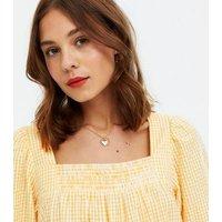 Yellow Check Seersucker Tiered Mini Dress New Look