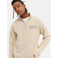 Men's Stone International Logo Funnel Sweatshirt New Look