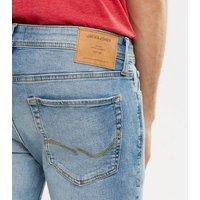 Men's Jack & Jones Blue Distressed Skinny Jeans New Look