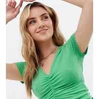 Green Soft Rib Ruched Front Top New Look
