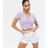 Lilac Soft Rib Ruched Front Top New Look