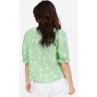 Light Green Floral Crepe Button Front Blouse New Look