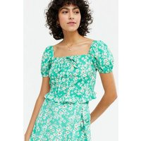Blue Daisy Tie Front Frill Top New Look