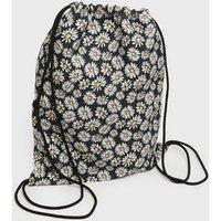 Girls Black Daisy Drawstring Backpack New Look