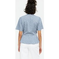 Blue Ditsy Floral Button Peplum Blouse New Look