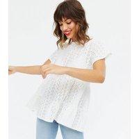 Cream Broderie Peplum T-Shirt New Look