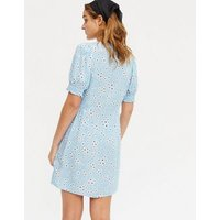 Blue Ditsy Floral Puff Sleeve Tea Dress New Look