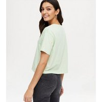 Light Green Floral Embroidered Boxy T-Shirt New Look