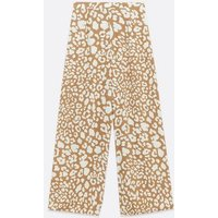 Light Brown Animal Print Wide Leg Trousers New Look