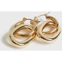 Gold Interlock Oval Hoop Earrings New Look