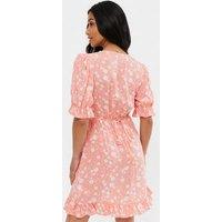 Petite Pink Ditsy Floral Frill Mini Dress New Look