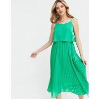 Green Pleated Chiffon Tie Strap Midi Dress New Look