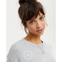 Pink Vanilla Grey Logo Boxy Crop T-Shirt New Look
