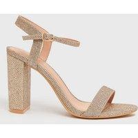 Gold Glitter 2 Part Block Heel Sandals New Look Vegan