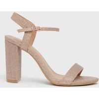 Rose Gold Glitter 2 Part Block Heel Sandals New Look Vegan