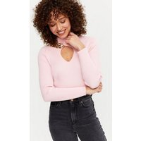 Cameo Rose Pink Ribbed Chain Keyhole Top New Look