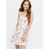 White Floral Button Front Tiered Mini Sundress New Look