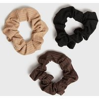 3 Pack Rust Camel and Black Ribbed Scrunchies New Look