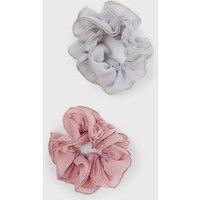Little Mistress 2 Pack Multicoloured Ruffle Scrunchies New Look