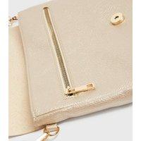 Gold Leather-Look Slim Cross Body Bag New Look Vegan