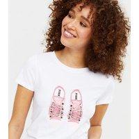 Pink Vanilla White Shoelace Sneaker T-Shirt New Look
